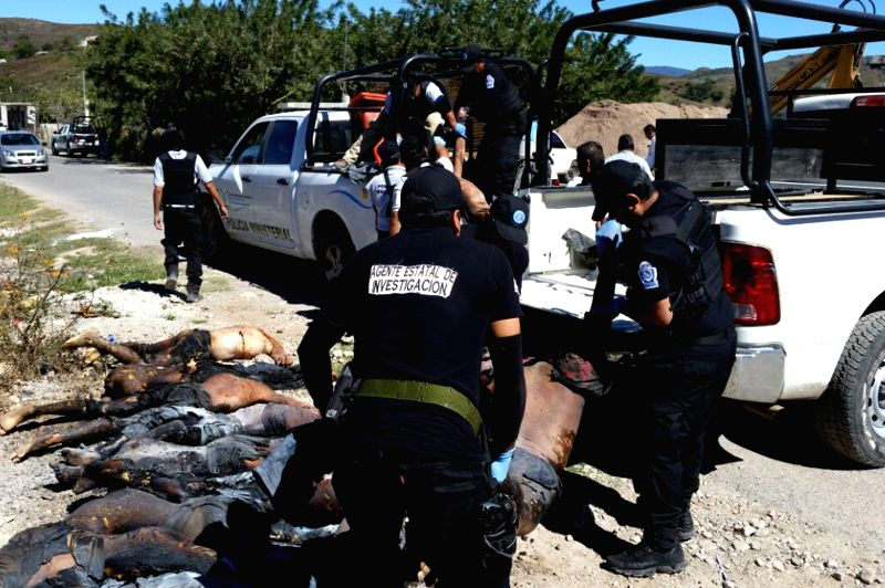 Guerrero (Mexico): Security members carry the bodies of victims found in an offroad trail, close to Chilapa's municipality, Guerrero state, Mexico, on Nov. 27, 2014. Eleven persons were shot, ...