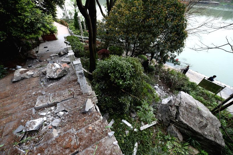 Photo taken on March 19, 2015 shows the site of falling boulder at the Diecai Mountain scenic spot in Guilin, southwest China's Guangxi Zhuang Autonomous Region. ...