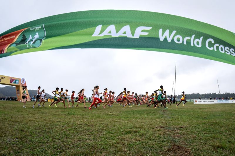 Athletes compete during the women's senior group at the IAAF World Cross Country Championships in Guiyang, southwest China's Guizhou Province, March 28, 2015. ...