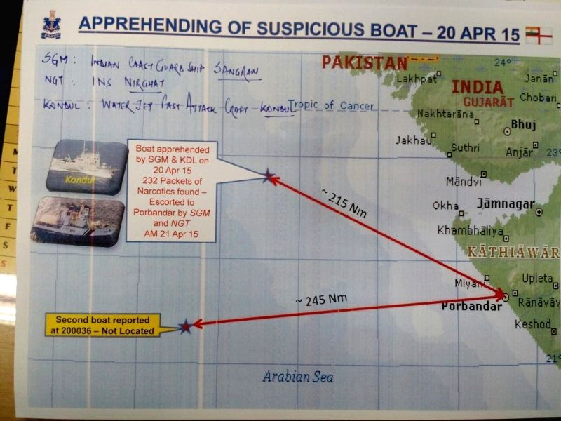 A map showing the area  in the Arabian Sea off the Gujarat coast where Indian defence agencies have seized a boat with eight Pakistanis on board and carrying narcotics worth around Rs.6 ...