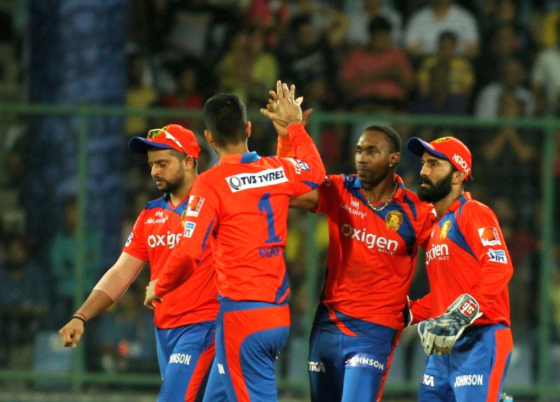 Gujarat Lions celebrate fall of a wicket during Qualifier 2 of IPL 2016 between Gujarat Lions and Sunrisers Hyderabad at Feroz Shah Kotla Stadium in New Delhi on May 27, 2016.