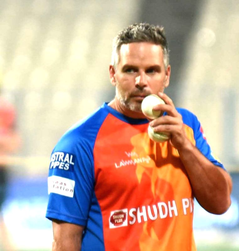 Gujarat Lions coach Brad Hodge during a practice session in Kolkata on April 20, 2017.