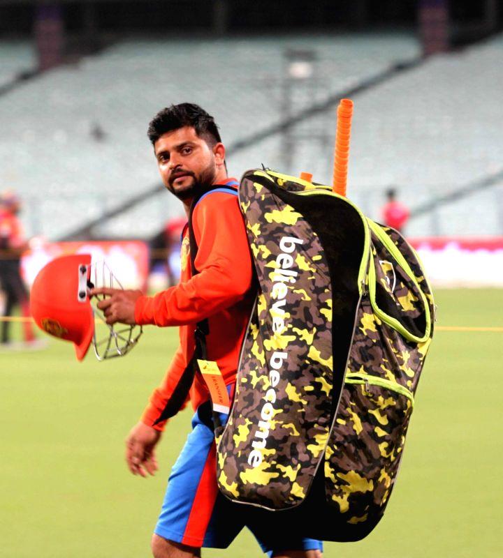 Gujarat Lions skipper Suresh Raina during a practice session in Kolkata on April 20, 2017.