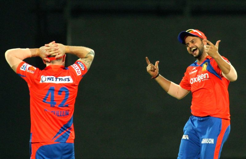 Gujrat Lions celebrate fall of a wicket during Qualifier 2 of IPL 2016 between Gujarat Lions and Sunrisers Hyderabad at Feroz Shah Kotla Stadium in New Delhi on May 27, 2016.