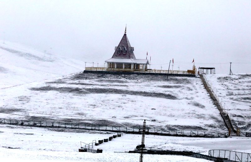 A view of the Shiv temple in Gulmarg of Jammu and Kashmir on Jan 21, 2015.
