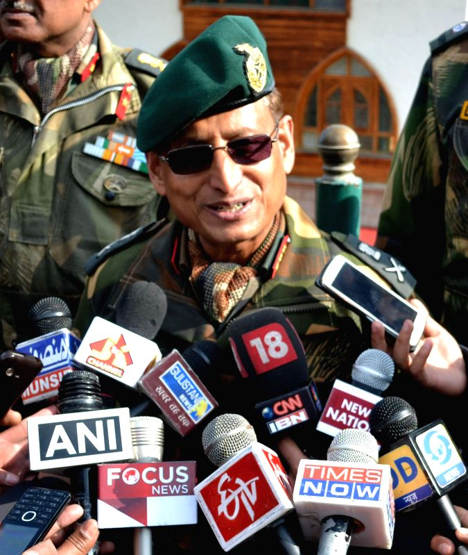 GOC 15 Corps, Lt General Subrata Saha speaks to media during a press conference in Gulmarg area of north Kashmir on Jan 3, 2015.