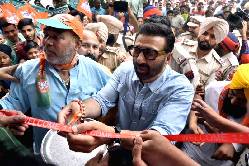 Gurdaspur: BJP's Lok Sabha candidate from Gurdaspur Sunny Deol during a roadshow, in Punjab's Gurdaspur on May 11, 2019.
