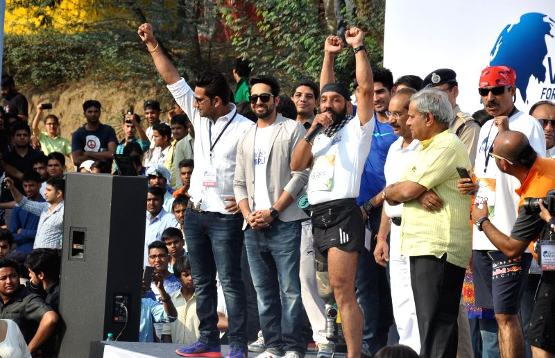 Actor Ayushmann Khurrana during a programme in Gurgaon, on May 3, 2015.