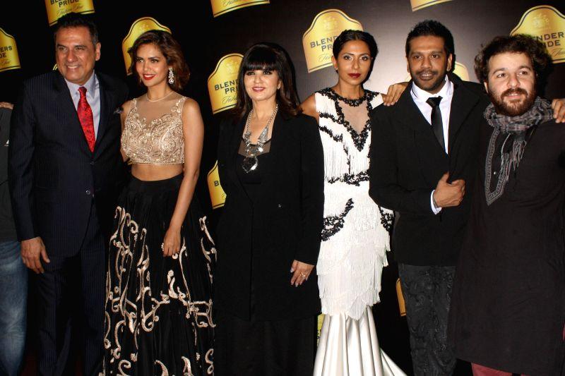 Actors Boman Irani, Esha Gupta and others with fashion designer Rocky Star at Blenders Pride Fashion Tour 2014, in Gurgaon, on Nov 23, 2014. - Boman Irani and Esha Gupta
