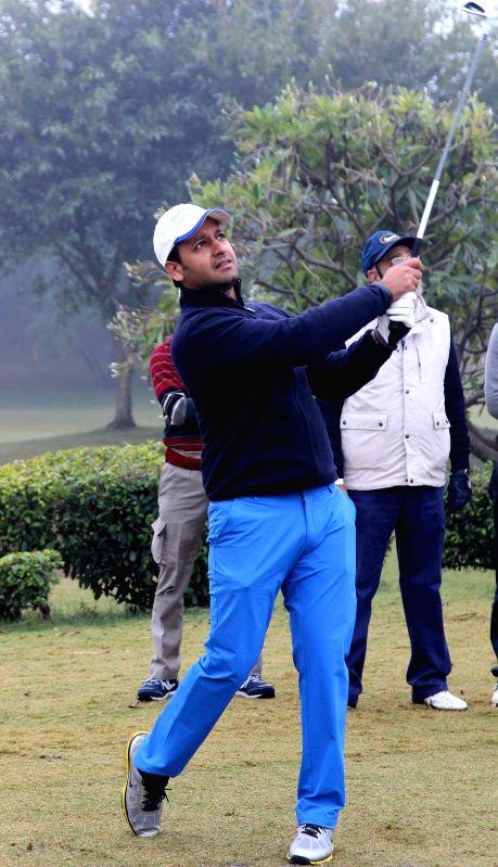 Cricketer Murli Kartik, in action during the Skinner's Cup 2014, at Tarudhan Valley Golf  Resort in Gurgaon on Dec 21, 2014.