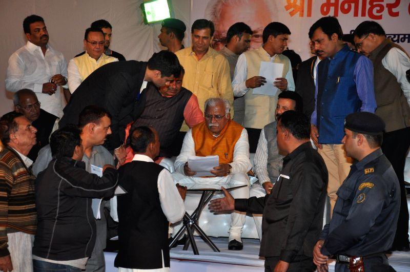 Haryana Chief Minister Manohar Lal Khattar during Janta Darbar in Gurgaon, Haryana on Nov 29, 2014.