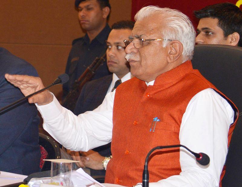 Haryana Chief Minister Manohar Lal Khattar addresses a press conference in Gurgaon on Feb. 4, 2015. - Manohar Lal Khattar