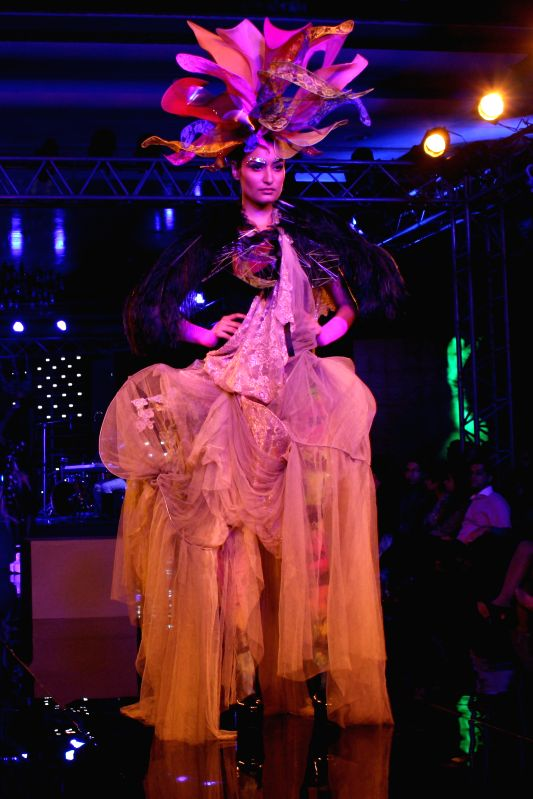 Models showcase Little Shilpa`s creations at the Blenders Pride Fashion Tour 2014, in Gurgaon, on Nov 23, 2014.