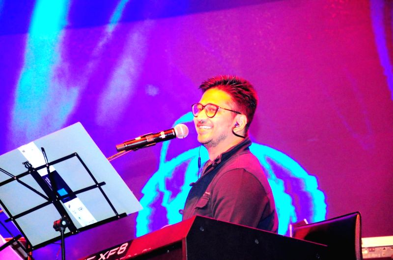 Music composer, singer and lyricist, Amit Trivedi performing live at the MTV Unplugged season 4 concert in Gurgaon on Jan 16, 2015.