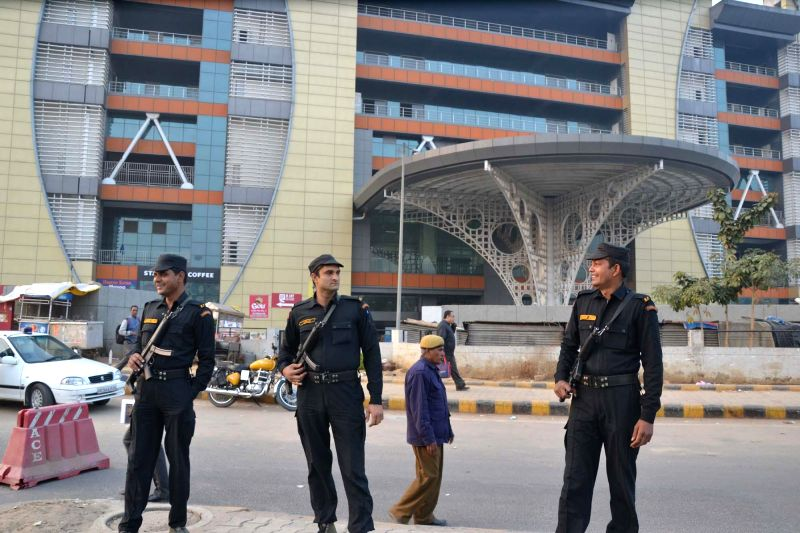 Security personnel deployed at the HUDA City Centre metro station after a bomb threat in Gurgaon, on Dec 17, 2014. The station was emptied for a search operation after the police control ...