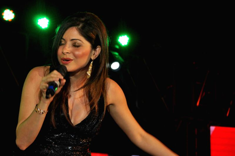 Singer Kanika Kapoor performs during Baisakhi celebrations at Gurgaon`s Kingdom of Dreams.