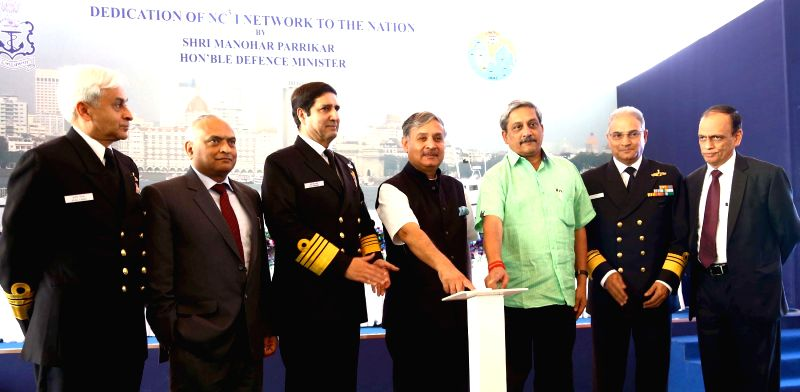 Union Minister for Defence Manohar Parrikar at the inauguration of the National Command Control Communication and Intelligence (NC3I) network at at the Information Management and Analysis ... - Rao Inderjit Singh