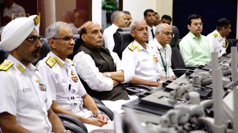 Gurugram: Defence Minister Rajnath Singh with Chief of the Naval Staff Admiral Karambir Singh during his visit to the Information Management and Analysis Centre (IMAC) and Information Fusion Centre – Indian Ocean Region (IFC-IOR) in Gurugr