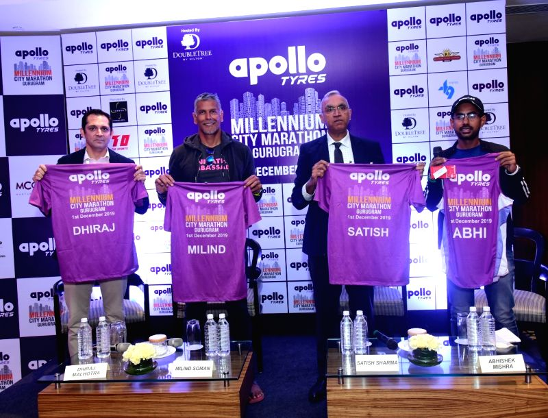 Gurugram: Delhi Capitals CEO Dhiraj Malhotra, actor-model and Apollo Tyres Millenium City Marathon 2019 Brand Ambassador Milind Soman, Apollo Tyres Ltd President (Asia Pacific, Middle East and Africa) Satish Sharma and Tabono Sports & Events Pvt Ltd