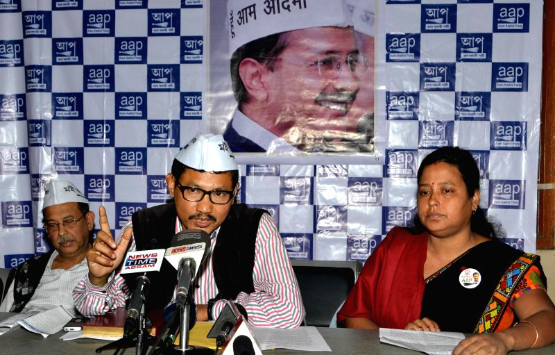 Aam Aadmi Party (AAP) leader Manoram Gogoi addresses a press conference regarding party's performance in the recently concluded Delhi Assembly Polls in Guwahati, on Feb 11, 2015.