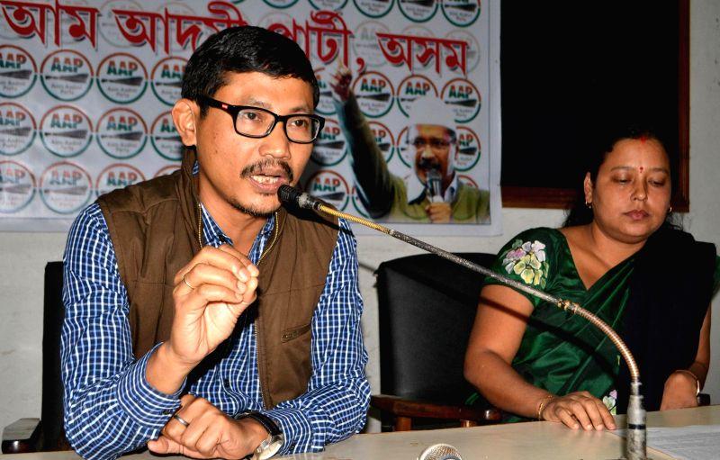 Aam Aadmi Party spokesperson Monoram Gogoi addresses press regarding Indo-Bangladesh land swap deal in Guwahati on Dec 4, 2014.