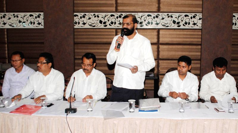 AASU adviser Samujjal Bhattacharya during a meeting with the leaders of 26 ethnic organisations in Guwahati, on April 7, 2015.