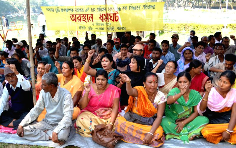 Activists of Krishak Mukti Sangram Samity (KMSS) staging dharna demonstration against Indo Bangla land swap deal and other issues in Guwahati on Dec 6, 2014.