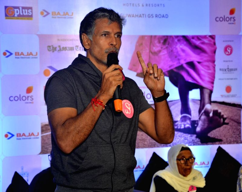 Guwahati: Actor and Pinkathon founder Milind Soman addresses a press conference announcing the fourth edition of Pinkathon 2018, in Guwahati on Aug 27, 2018.