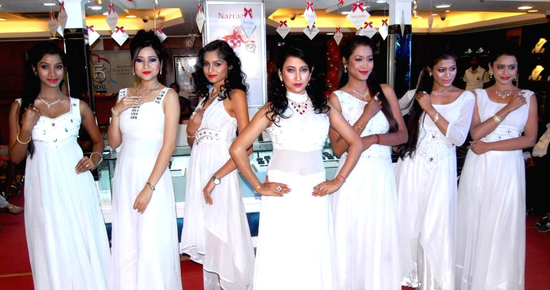 Actress Barsha Rani Bishaya at the special preview of `Nazrana Valentine`s Day Offer` an exclusive jewellery collections that will be on sale till 14th Feb in Guwahati on Feb. 4, 2015. - Barsha Rani Bishaya