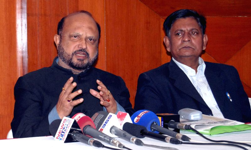AGP leader P K Mahanta addresses a press conference regarding recent violence in Assam, in Guwahati, on Dec 25, 2014.