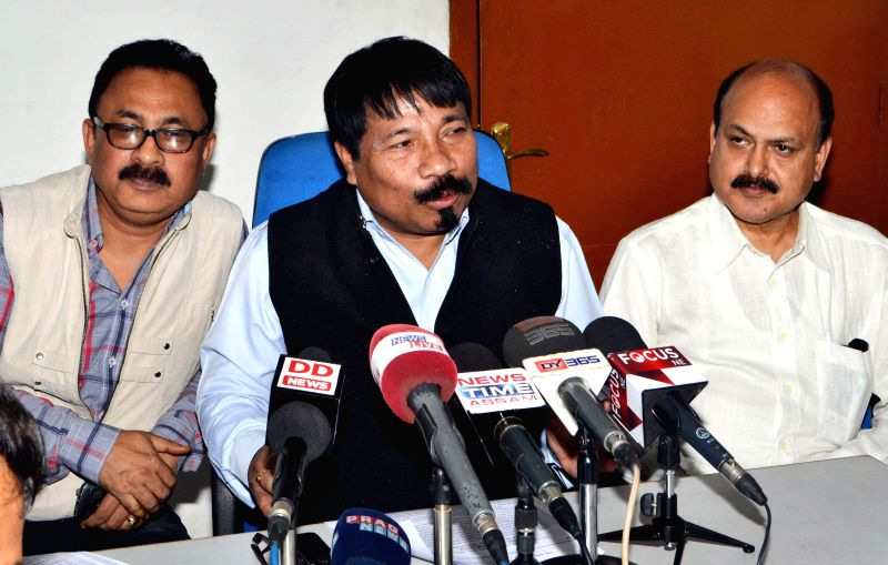 AGP president Atul Bora addresses a press conference at party head office in Guwahati on Feb 23, 2015.