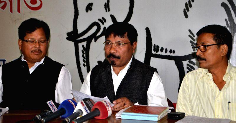 AGP President Atul Bora addresses press regarding Indo-Bangla land swap deal in Guwahati, on Dec 3, 2014.
