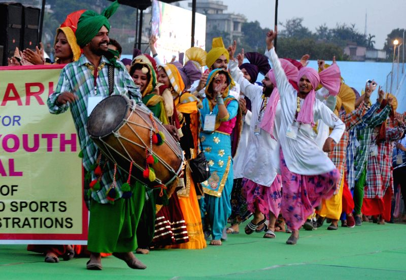 Artists from Chandigarh perform during the 19th National Youth Festival 2015 at Nehru Stadium in Guwahati on Jan 8, 2015.