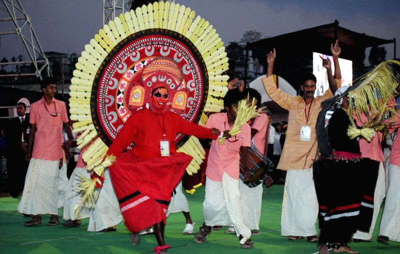 Artists from Karnataka perform during the 19th National Youth Festival 2015 at Nehru Stadium in Guwahati on Jan 8, 2015.