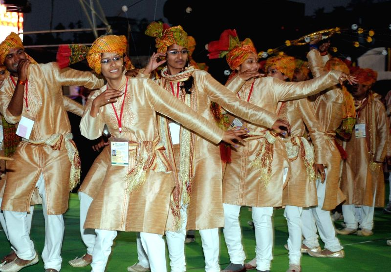 Artists from Madhya Pradesh perform during the 19th National Youth Festival 2015 at Nehru Stadium in Guwahati on Jan 8, 2015.