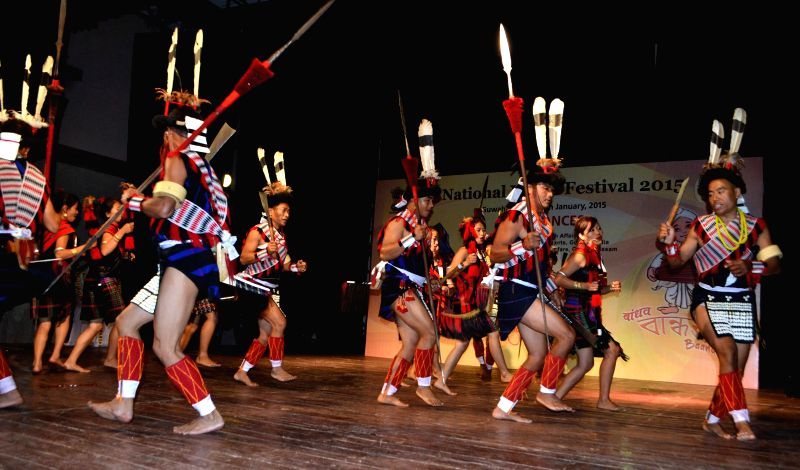 Artists from Nagaland perform during the Folk Dance Competition  at the ongoing 19th National Youth Festival 2015 in Guwahati, on Jan 9, 2015.