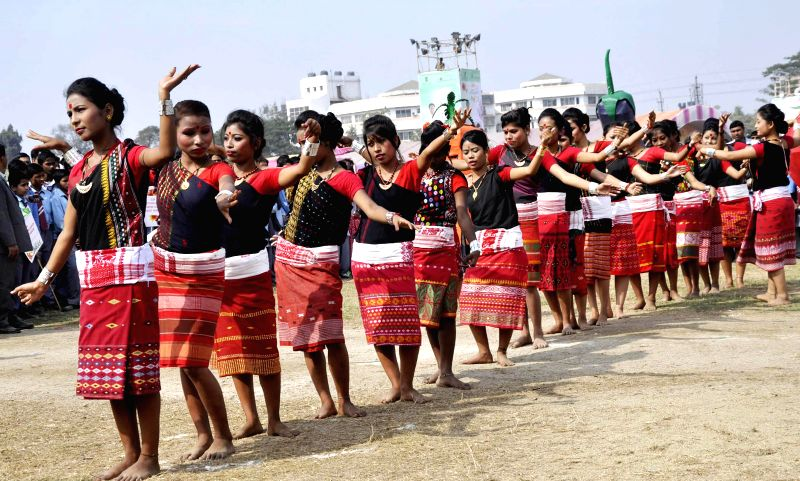 Artists perform during inauguration of the 2nd Assam International Agri-Horticultural Show 2015 in Guwahati, on Feb 10, 2015.