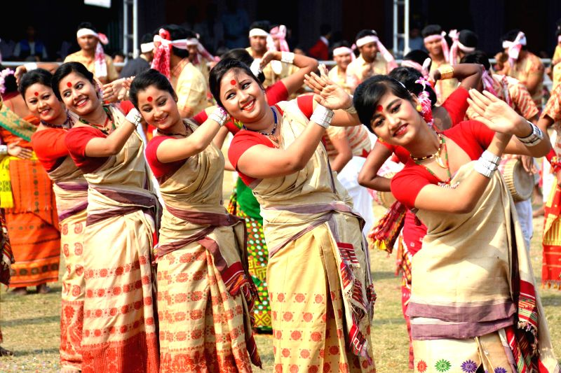 Artists perform during the Republic day celebrations at Khanapara veterinary Field in Guwahati, on Jan 26, 2015.