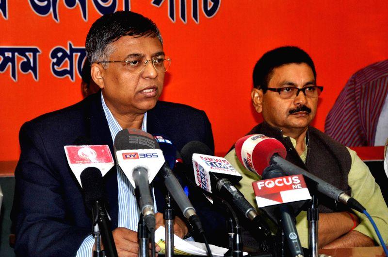 Assam BJP chief  Siddhartha Bhattacharyya addresses a press conference  in Guwahati on Jan 13, 2015.
