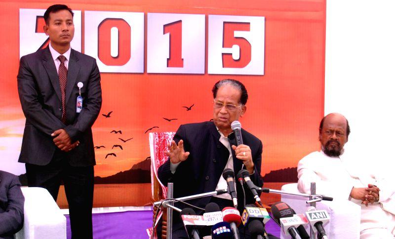 Assam Chief Minister Tarun Gogoi addresses New Year's press conference in Guwahati, on Jan 1, 2015. - Tarun Gogoi