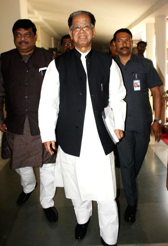 Assam Chief Minister Tarun Gogoi arrives to present the state budget for 2015-16 at Assam assembly in Guwahati on March 10, 2015.