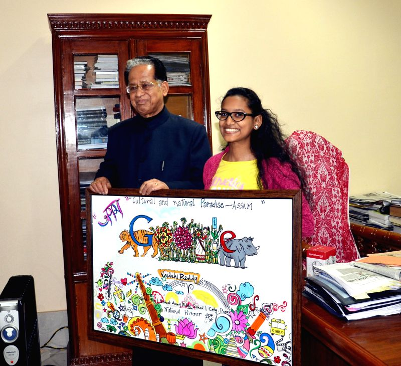Assam Chief Minister Tarun Gogoi with Vaidehi Reddy, the winner of the sixth Google's Doodle4Google contest at his residence in Guwahati on Jan 4, 2015. - Tarun Gogoi and Vaidehi Reddy
