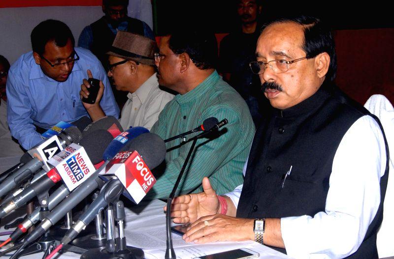 Assam Congress chief Anjan Dutta addresses a press conference in Guwahati, on Feb 23, 2015.