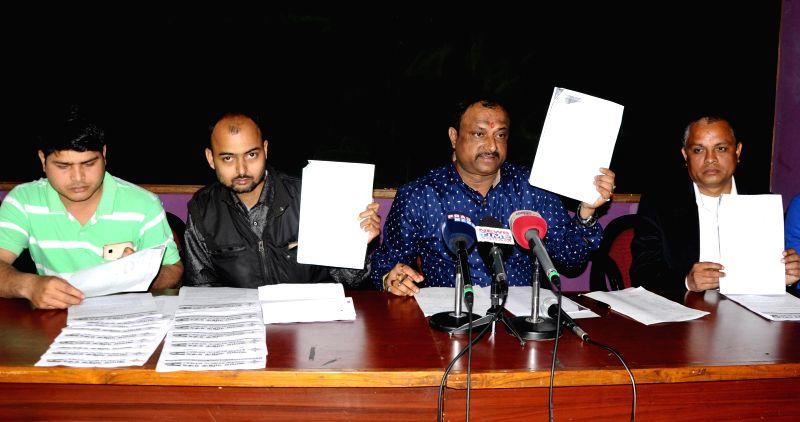 Assam Public Works (APW) president Abhijit Sarma addresses a press conference in Guwahati on Feb 5, 2015.