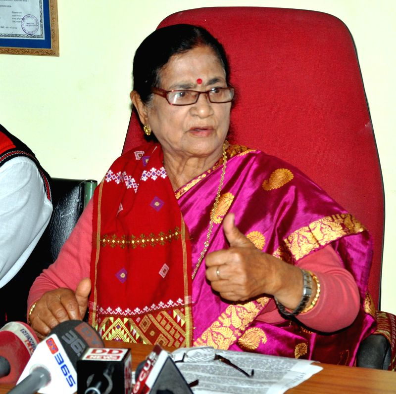 BJP MP from Guwahati Bijoya Chakraborty addresses a press conference in Guwahati, on Feb 17, 2015. - Guwahati Bijoya Chakraborty