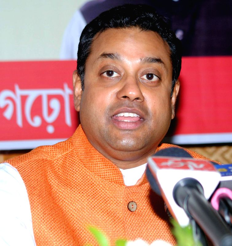 BJP spokesperson Sambit Patra addresses a press conference in Guwahati, on May 22, 2015.