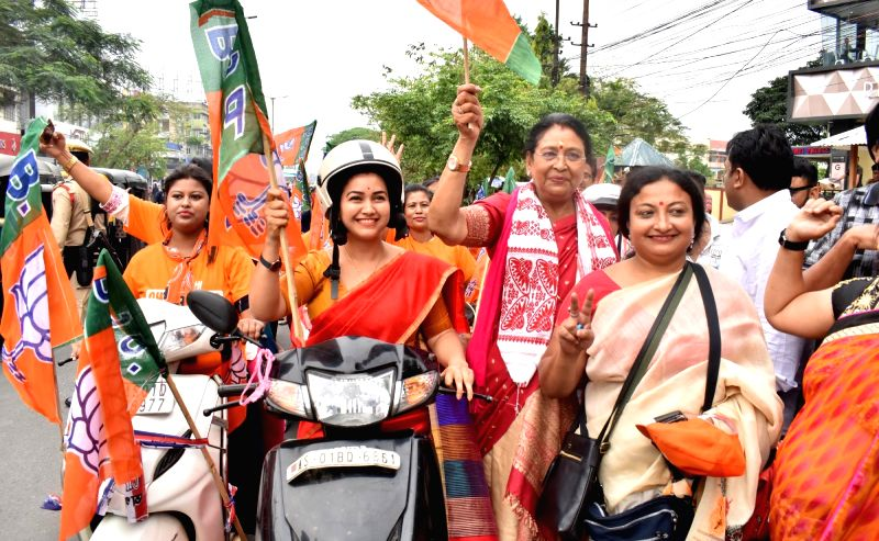 Guwahati: BJP supporters led by actress-turned-politician, BJP leader Angoorlata Deka, takes out a bike rally during an election campaign ahead of the 2019 Lok Sabha polls, in Guwahati, on April 21, 2019.