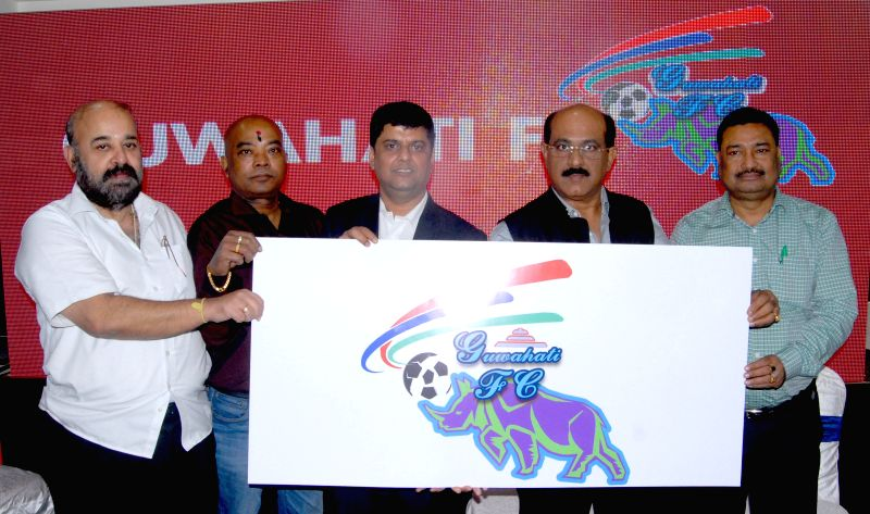 Co-owners of Assam`s own first Professional Football Club `Guwahati FC` Sanjiv Narain, Jayanta Baruah, Bipul Saikia, Kamal Chandra Das and Pulak Goswami unvailing the logo of the Club at a . - Pulak Goswami