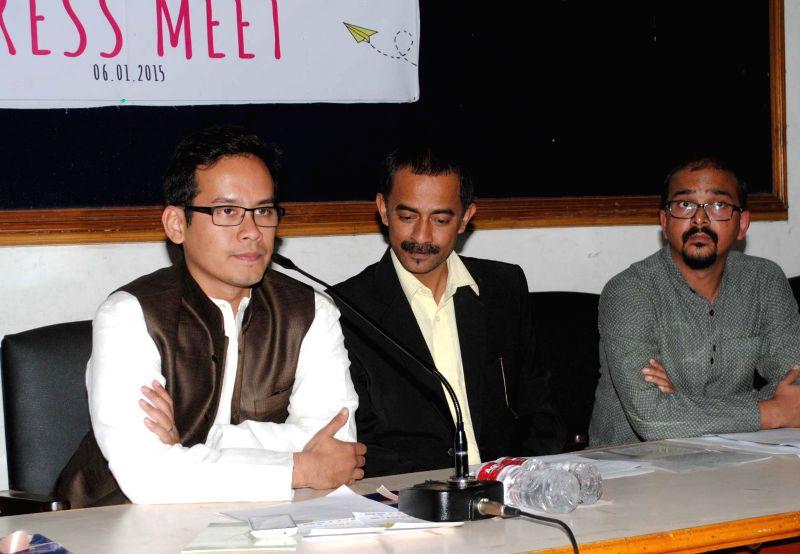 Congress MP Gourav Gogoi addresses a press conference regarding the 3rd edition of Metropolis - Urban Winter Festival 2015 in Guwahati on Jan. 6, 2014.