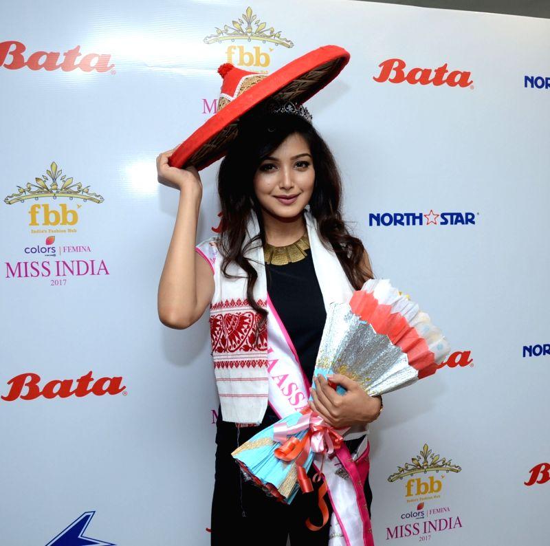 Guwahati: FBB Femina Miss India 2017 Triveni Barman during a felicitation programme in Guwahati on April 20, 2017.